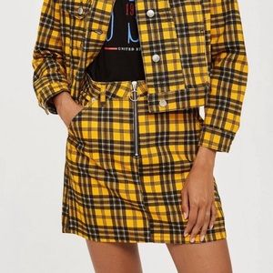 top shop yellow plaid skirt